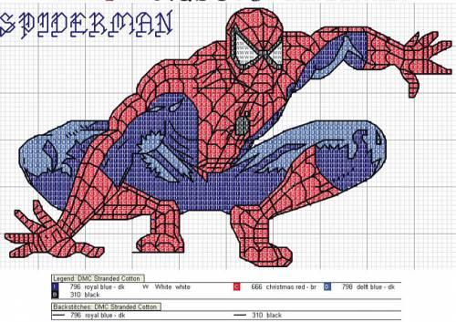 человек паук схема для вышивки
