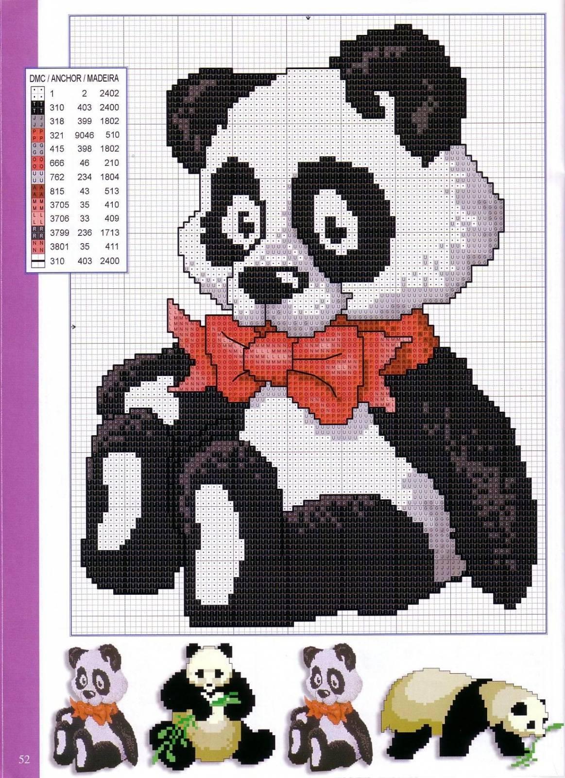 Схема панды в вязании 604
